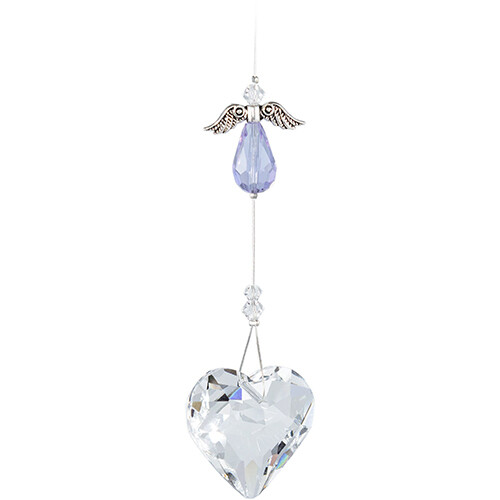 Guardian Angel Heart - Light Blue/Lilac Angel with Clear Crystal Heart - Crystal Suncatcher - Canadian Handmade Rainbow Maker