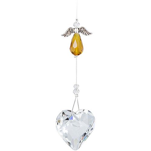 Guardian Angel Heart - Topaz Angel with Clear Crystal Heart - Crystal Suncatcher - Canadian Handmade Rainbow Maker