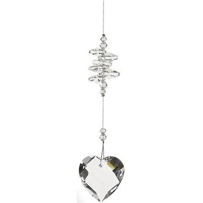 Heart Crystal with crystals - Clear - Crystal Suncatcher - Canadian Handmade Rainbow Maker