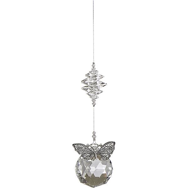 Filigree Butterfly with Large Crystal Ball and Crystals - Clear - Crystal Suncatcher - Canadian Handmade Rainbow Maker