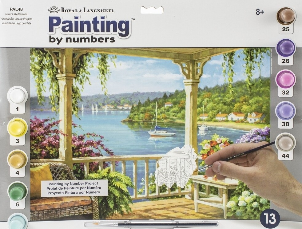 """Paint By Number Large Size - Silver Lake Veranda - Ages 8 and up  - 11.25"""" x 15.375"""""""