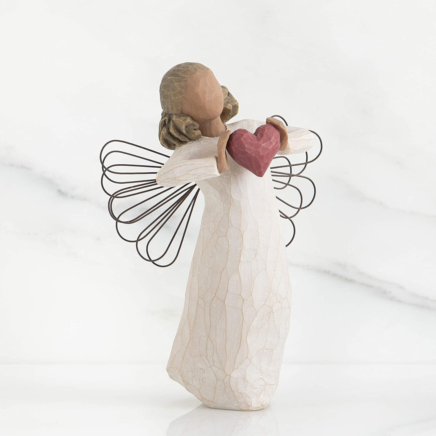 Willow Tree: With Love - Angel holding Red Heart - Wire Wings