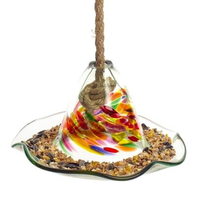 Kitras Art Glass - Celebration - Bird Feeder for Baltimore Orioles, Hummingbirds and others - Canadian Hand Blown Glass