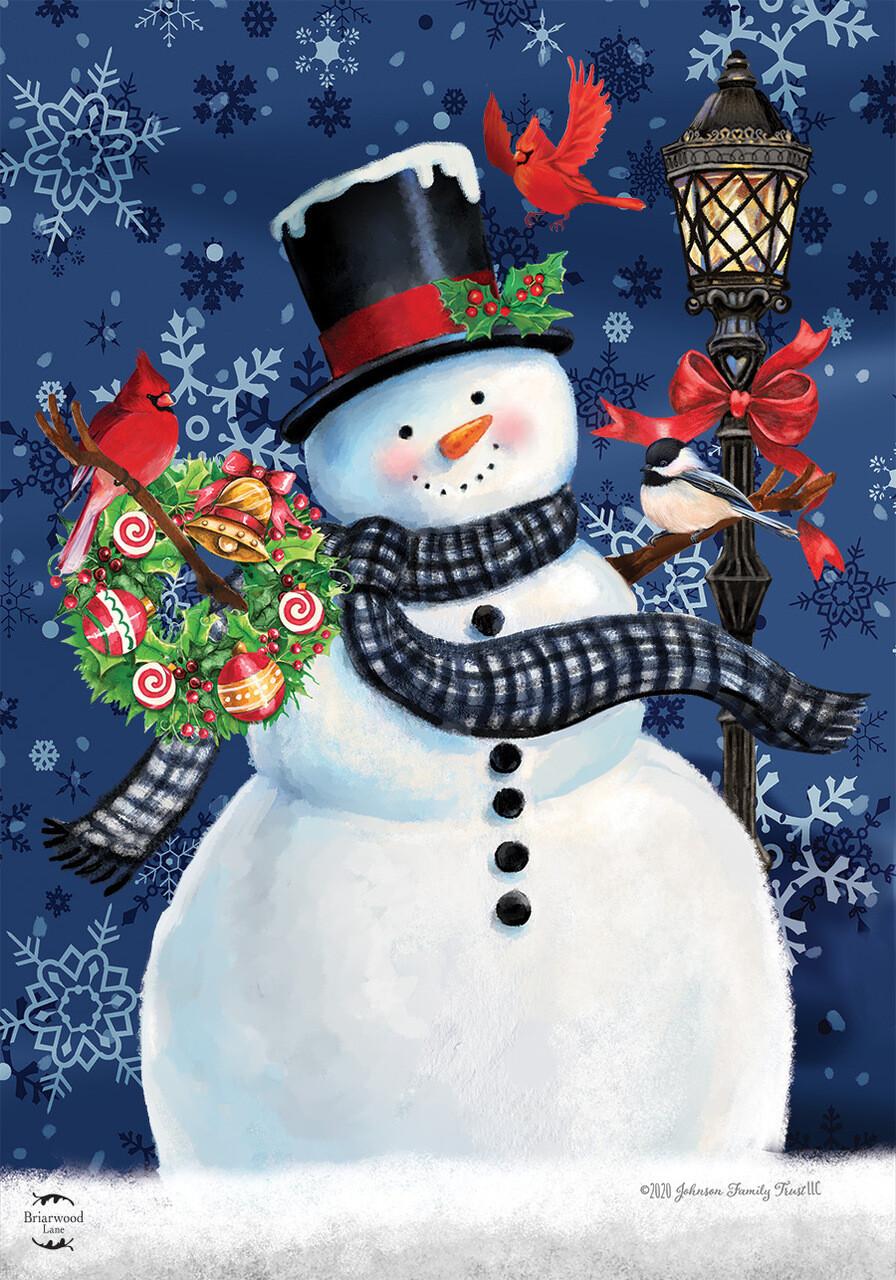 "Snowman Holiday Cheer - House Flag - 28"" x 40"" - Briarwood Lane"
