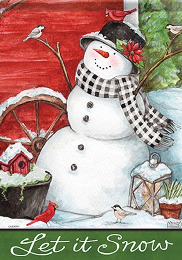 "Snowman Friends - Let it Snow - Snowman with Cardinal and Chickadee - Garden Flag - 12.5 "" x 18"""