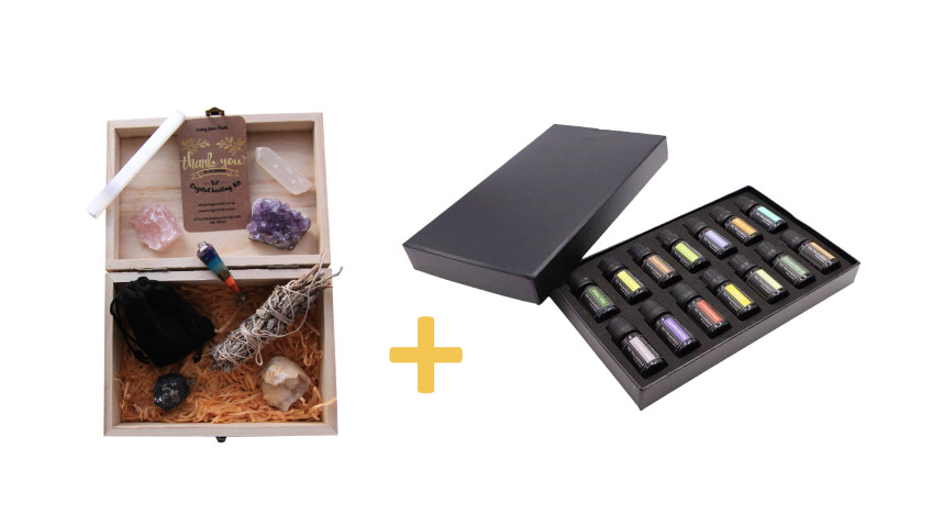 Crystal Healing & Pure Essential Oil KIT COMBO