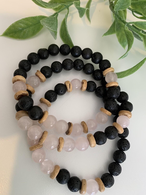 Lava Bracelet - Rose Quartz