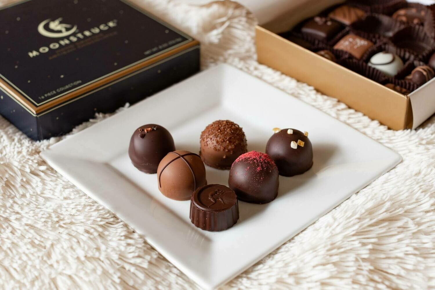 Moonstruck 9pc. Assorted Milk and Dark Chocolate Truffles in  Traditional Midnight Blue Gift Box