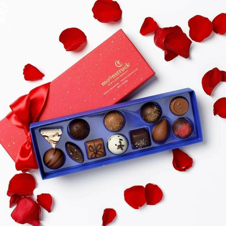 Moonstruck 9pc. Assorted Milk and Dark Chocolate Truffles in Valentine Red or Traditional Midnight Blue Gift Box