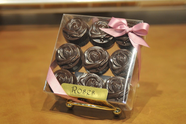 "18pc Solid ""Roses"" in Milk, Dark or Sugar Free Chocolate"