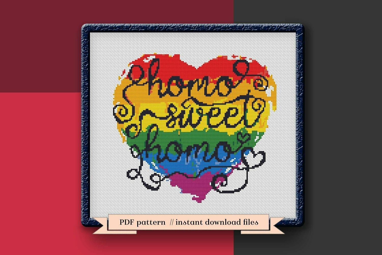 Homo sweet homo cross stitch pattern PDF, LGBT pride heart Xstitch