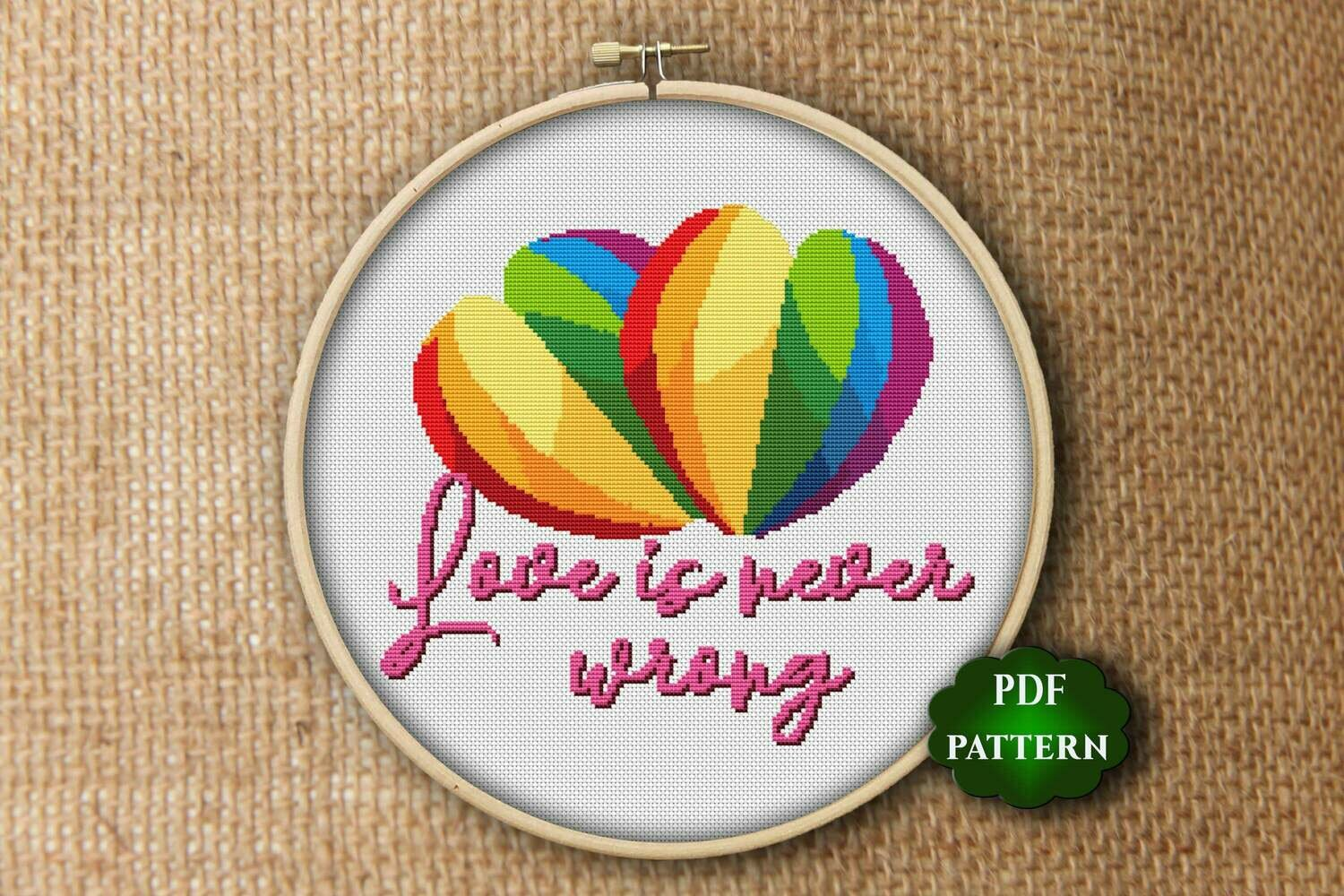LGBT valentines gift Cross stitch pattern PDF. Heart rainbow. Love is never wrong
