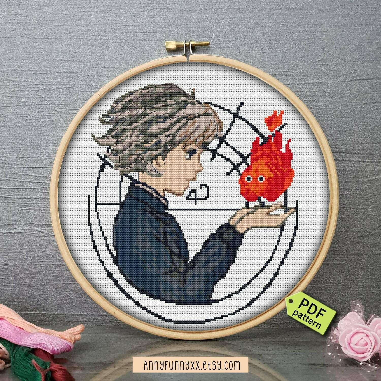 Howls moving castle Cross Stitch pattern PDF, Studio Ghibli, Modern cross stitch, Embroidery pattern, Anime stitching, Miyazaki anime art