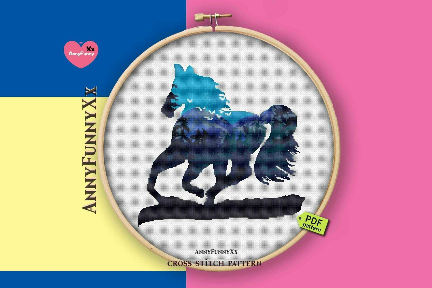 Horse cross stitch pattern PDF Silhouette