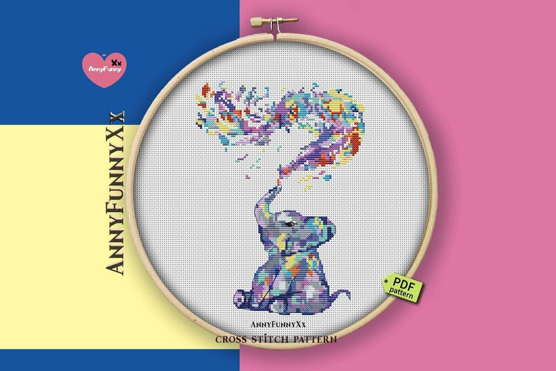 Watercolor cross stitch pattern pdf, Elephant Xstitch