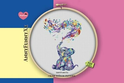 Watercolor cross stitch pattern pdf, Elephant Xstitch