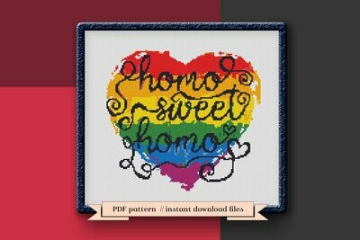 Homo sweet homo cross stitch pattern PDF, LGBT pride heart Xstitch