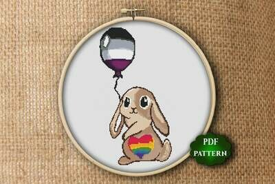 Easter bunny cross stitch pattern LGBT cross stitch pattern PDF