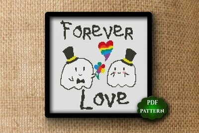 Forever love. LGBT Valentine's day cross stitch pattern PDF.  LGBT heart