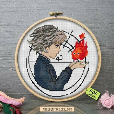 Howls moving castle Cross Stitch pattern PDF, Studio Ghibli, Modern cross stitch, Embroidery pattern, Anime stitching, Miyazaki anime art
