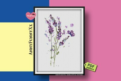 Lavender cross stitch pattern PDF