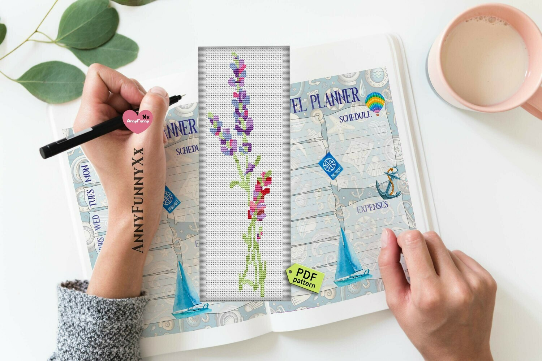 Lavender cross stitch. Bookmark cross stitch pattern.