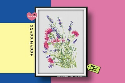 Wildflowers cross stitch pattern PDF, Flowers bouquets, Lavender Xstitch