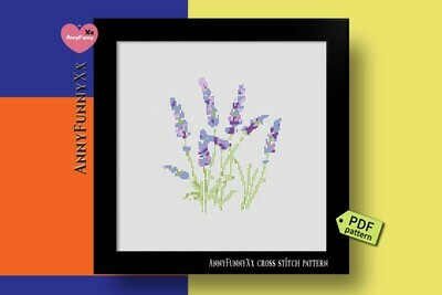 Lavender cross stitch pattern PDF, floral cross stitch