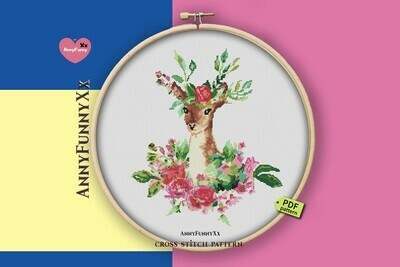 Deer cross stitch pattern PDF, Boho flowers deer