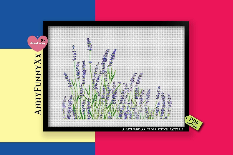 Lavender cross stitch pattern PDF, floral cross stitch