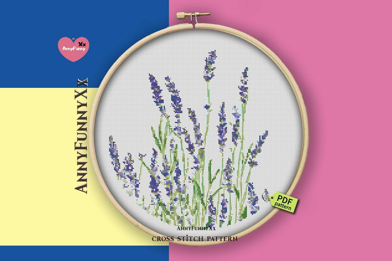 Floral cross stitch, Lavender cross stitch pattern PDF