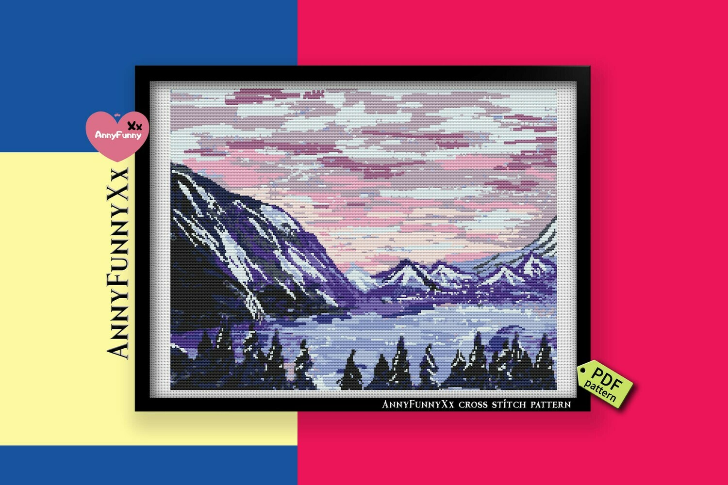 Landscape winter cross stitch pattern PDF