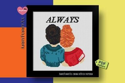 Cross stitch pattern PDF best friends, Girlfriend gift