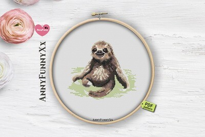 Sloth Cross stitch pattern PDF