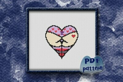 Ass cross stitch pattern PDF, Heart butts Xstitch