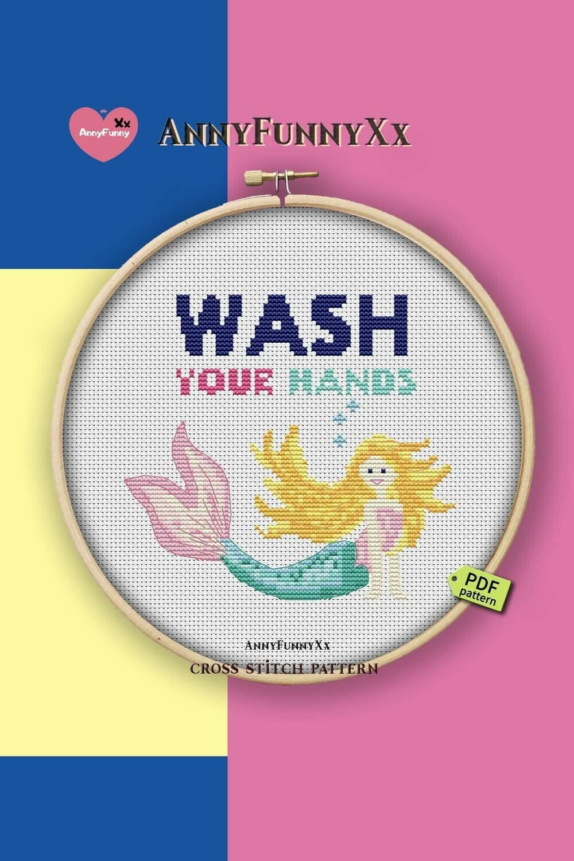Free cross stitch pattern PDF, Wash your hands, Mermaids