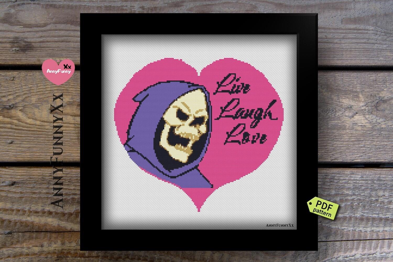 Cross Stitch Pattern PDF Skeletor Live Laugh Love, Subversive, Cross Stitch Funny Comic