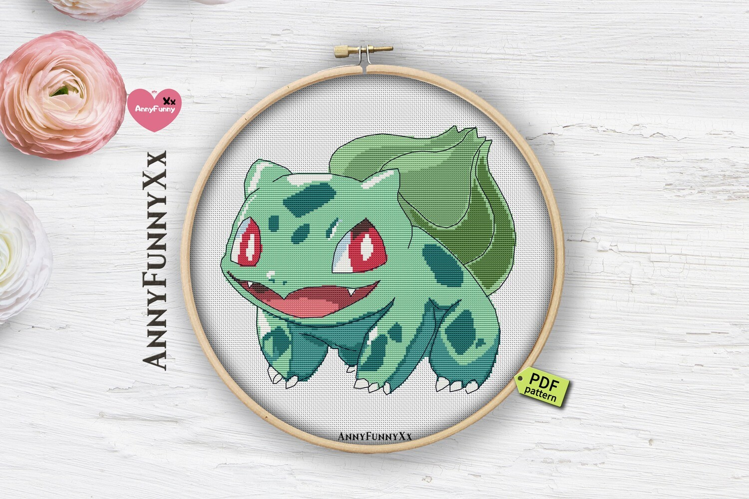 Bulbasaur cross stitch pattern PDF, Pokemon Go cross stitch PDF