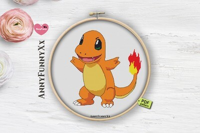 Pokemon cross stitch pattern PDF, Charmander Pokemon Go Xstitch