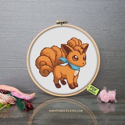 Pokemon cross stitch pattern PDF, Vulpix  Pokemon Go Xstitch