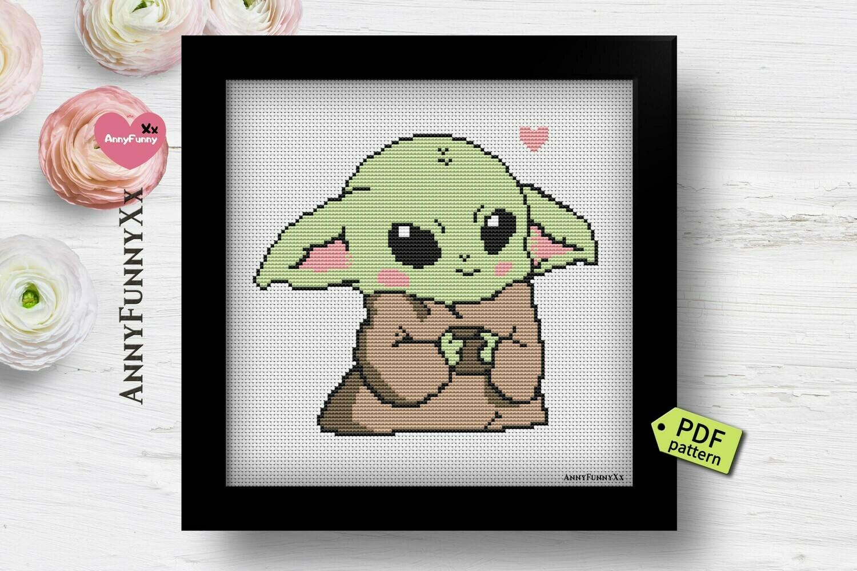 Baby Yoda cross stitch pattern PDF
