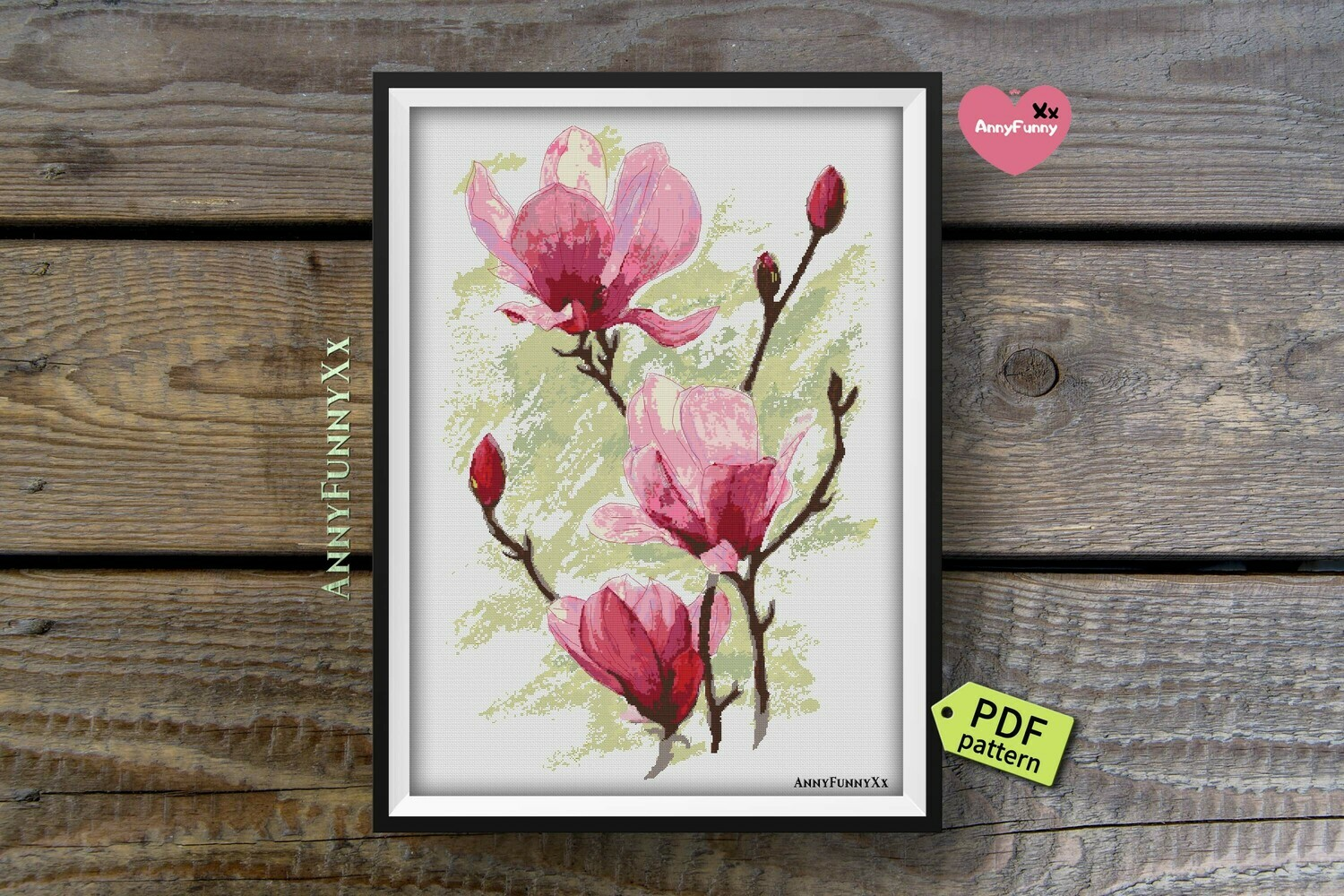 Magnolia cross stitch pattern PDF