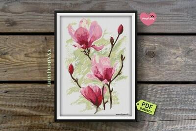 Magnolia cross stitch pattern PDF