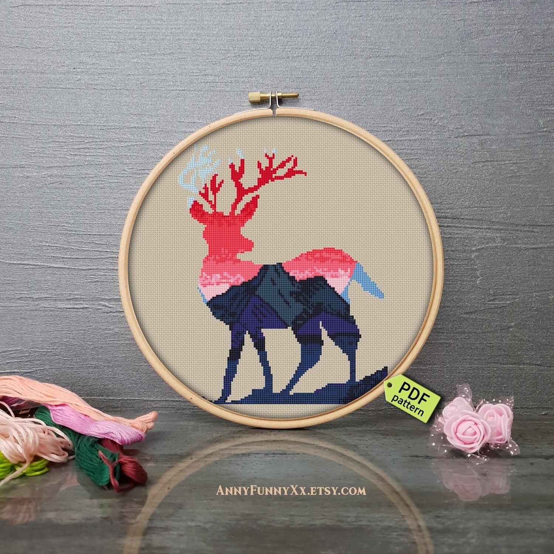 Silhouette Deer cross stitch, Deer cross stitch pattern PDF