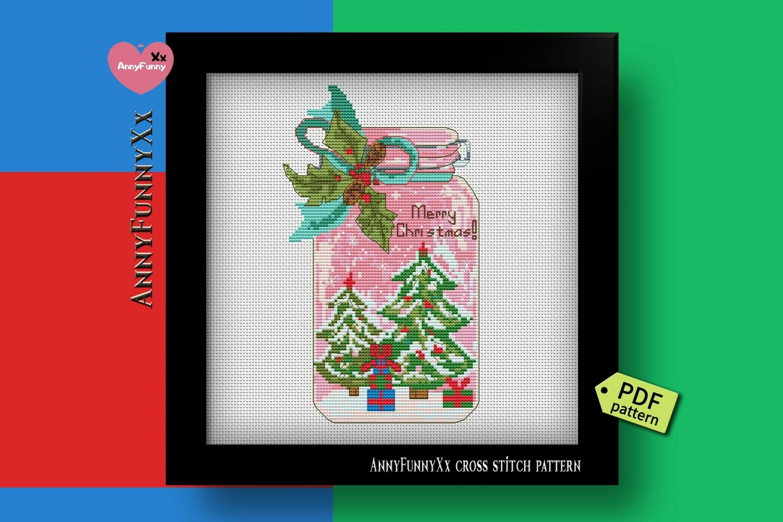 Mason jar Christmas cross stitch pattern PDF