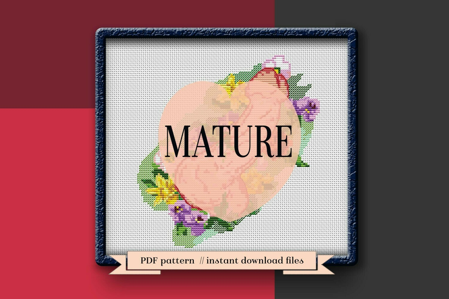 Adult cross stitch pattern PDF. Penis Xstitch pattern