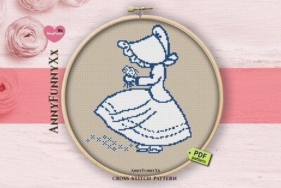 Bonnet cross stitch pattern PDF, Sue bonnet girl
