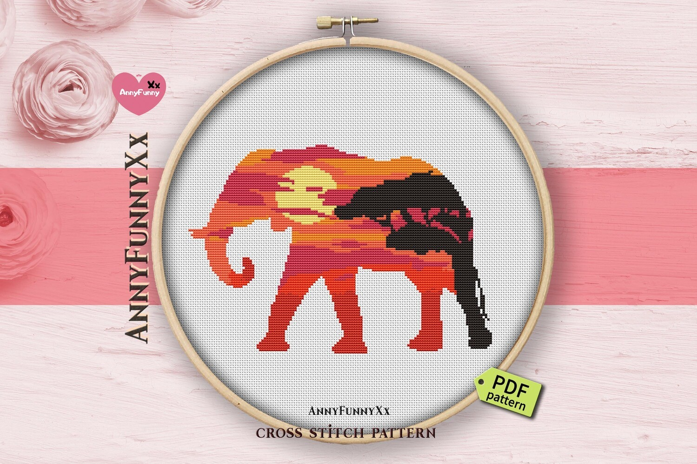 Silhouette Elephant cross stitch pattern PDF, Safari animals Xstitch