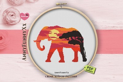 Silhouette Elephant cross stitch pattern PDF, Safari animals Xstitch