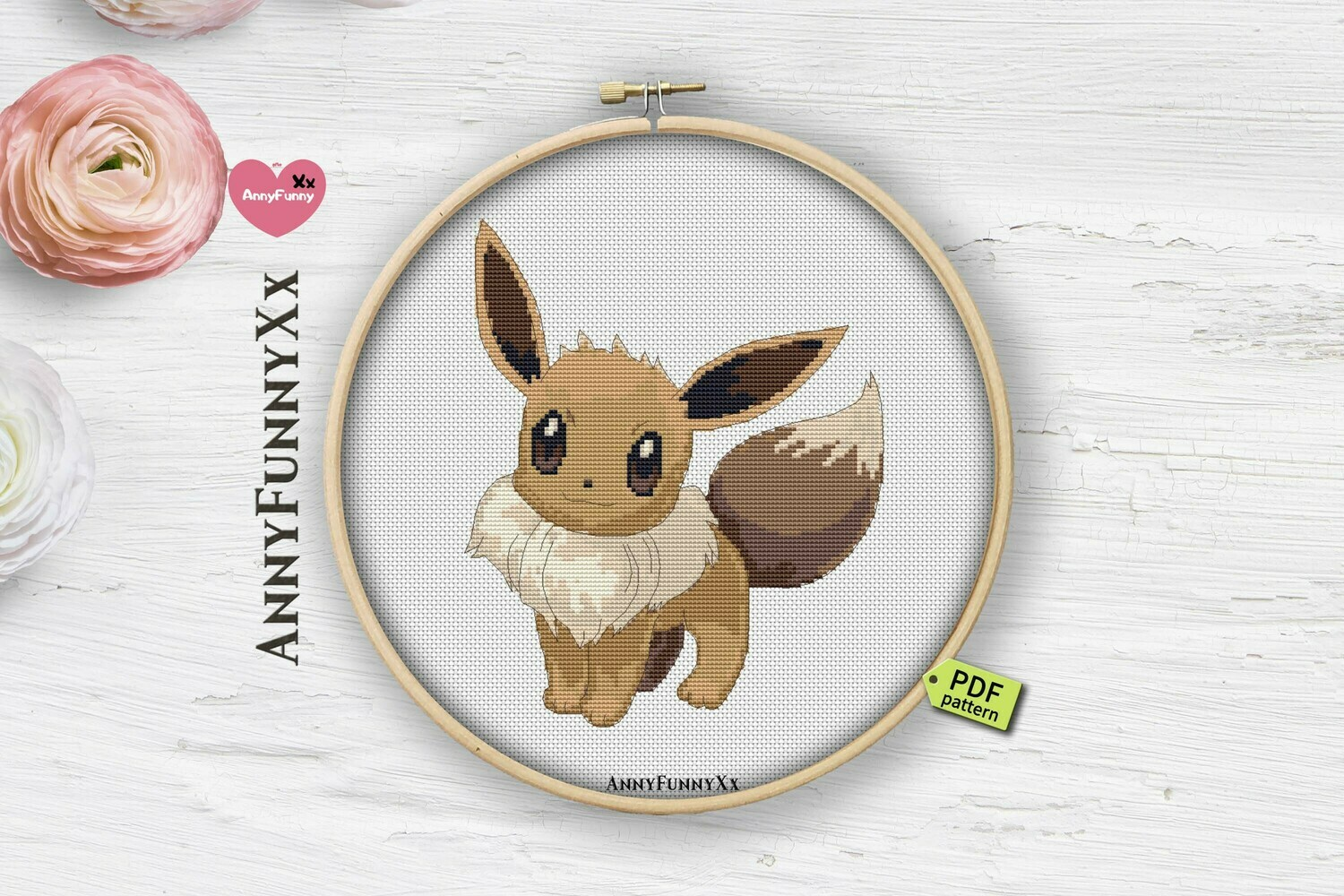 Eevee pokemon cross stitch pattern PDF, Pokemon Go, eeveelutions